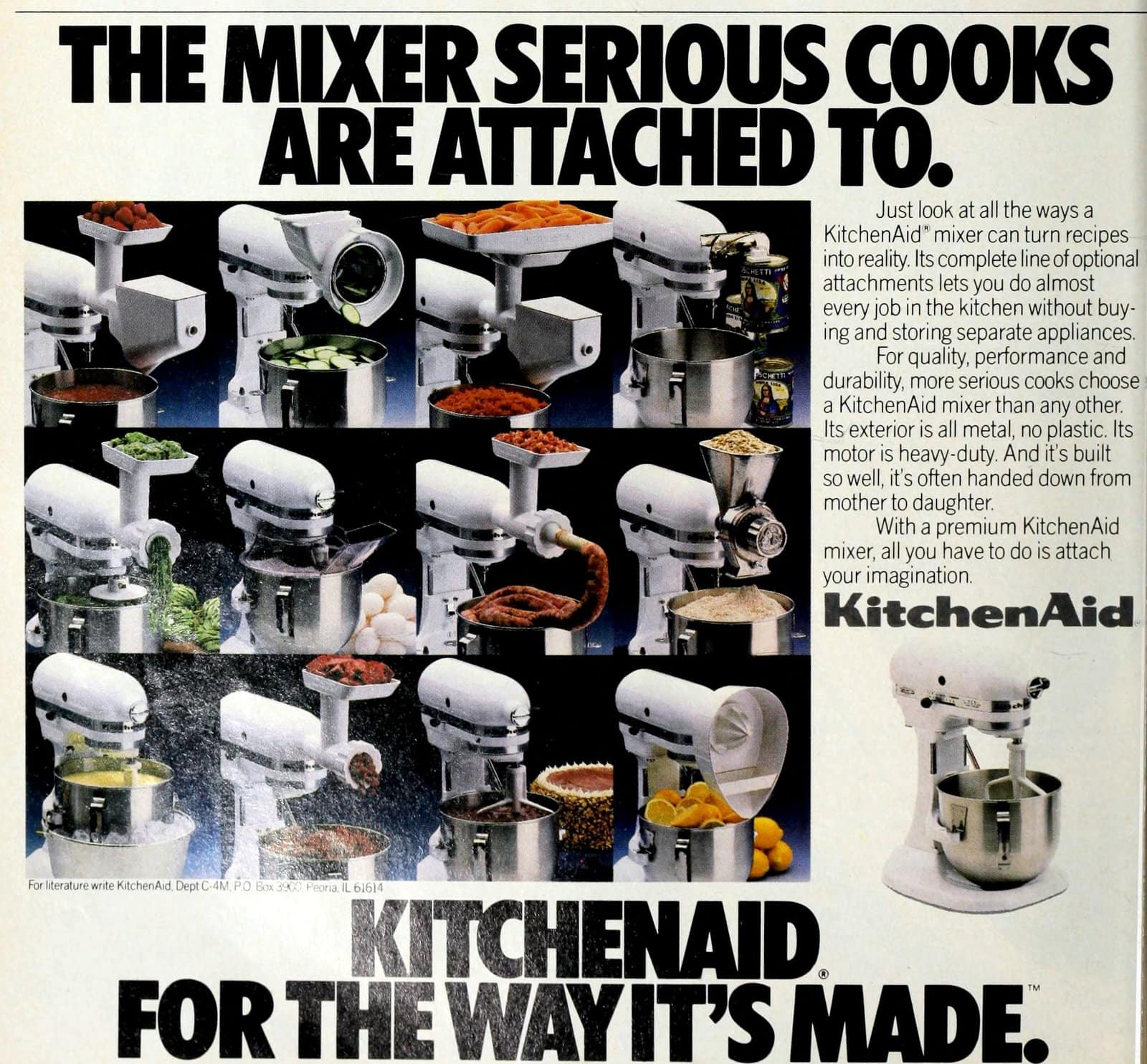 Vintage Kitchen Aid stand mixer with different attachments (1986)