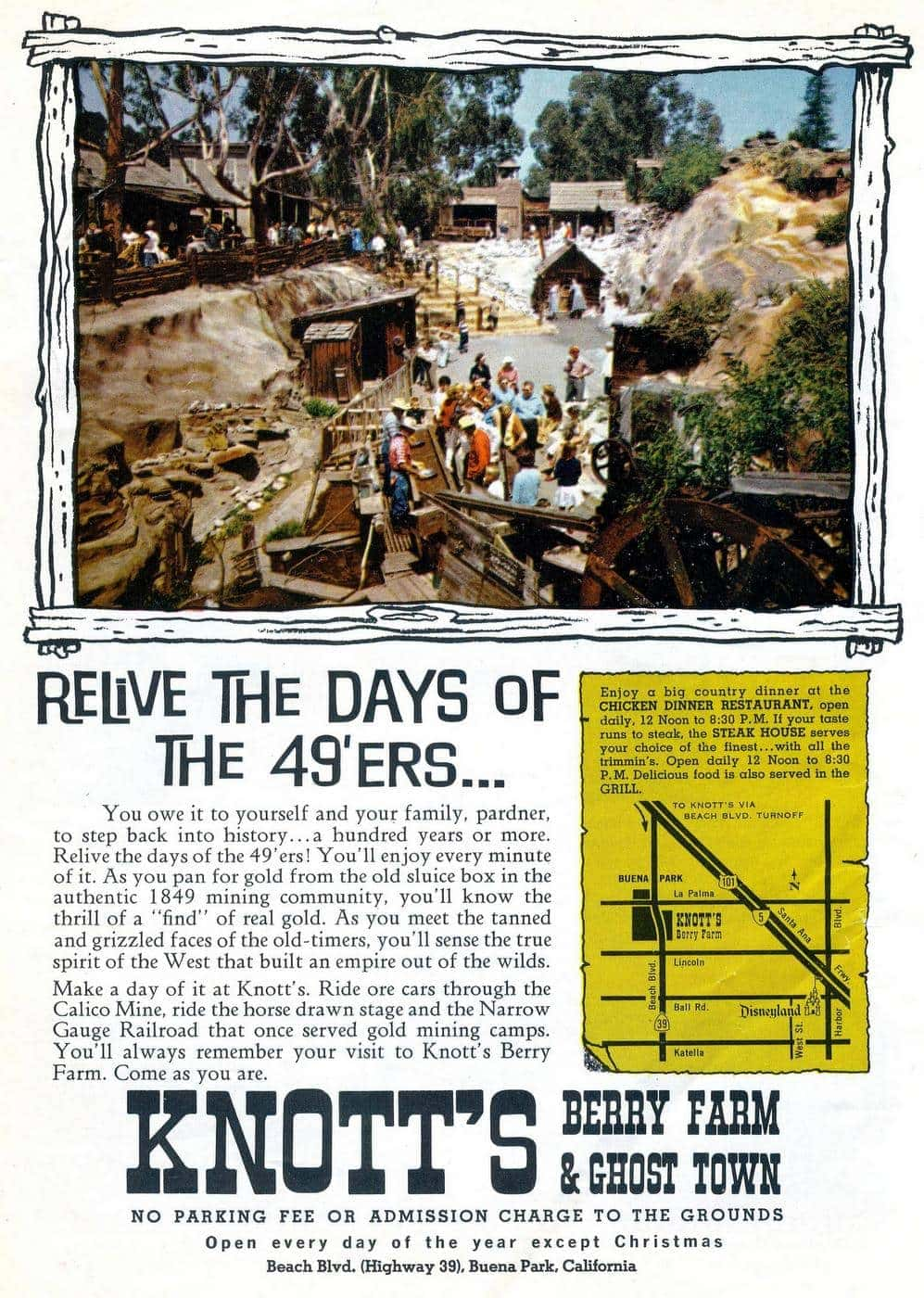 Vintage Knott's Berry Farm and Ghost Town - Gold Rush 1966