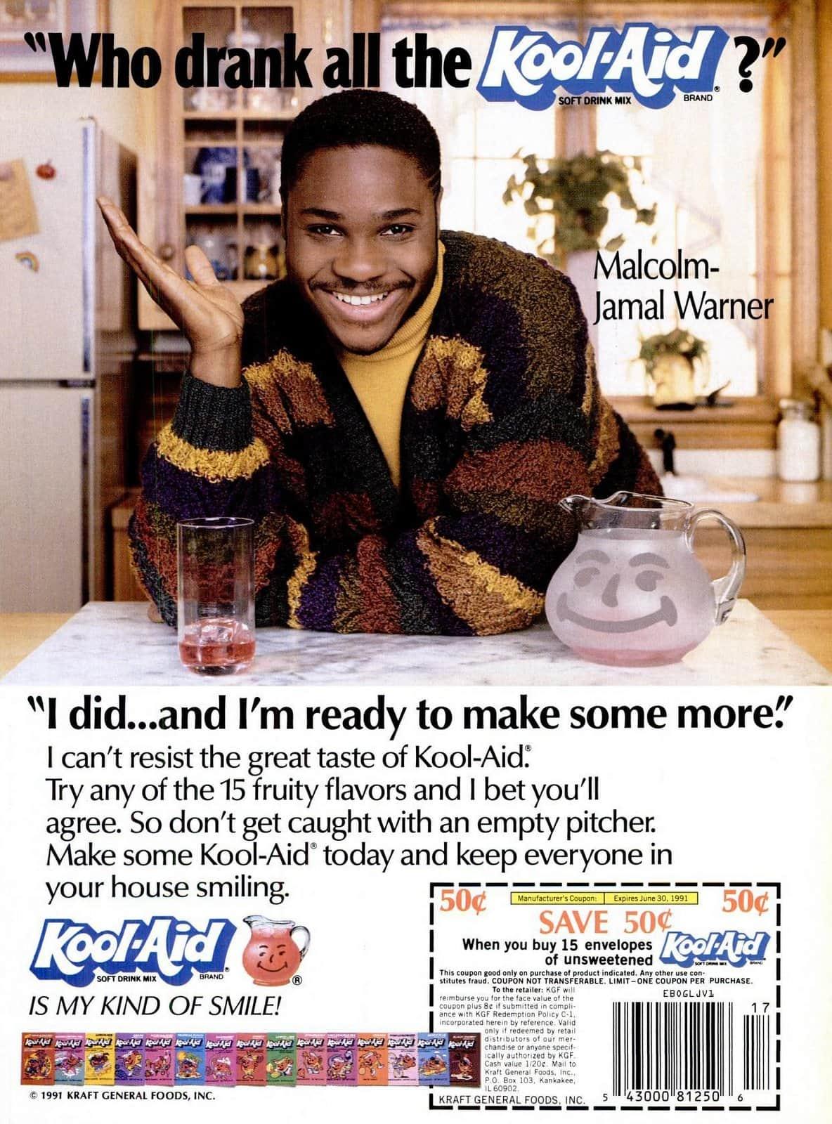 Vintage Kool Aid ad with Malcolm-Jamal Warner (1991)