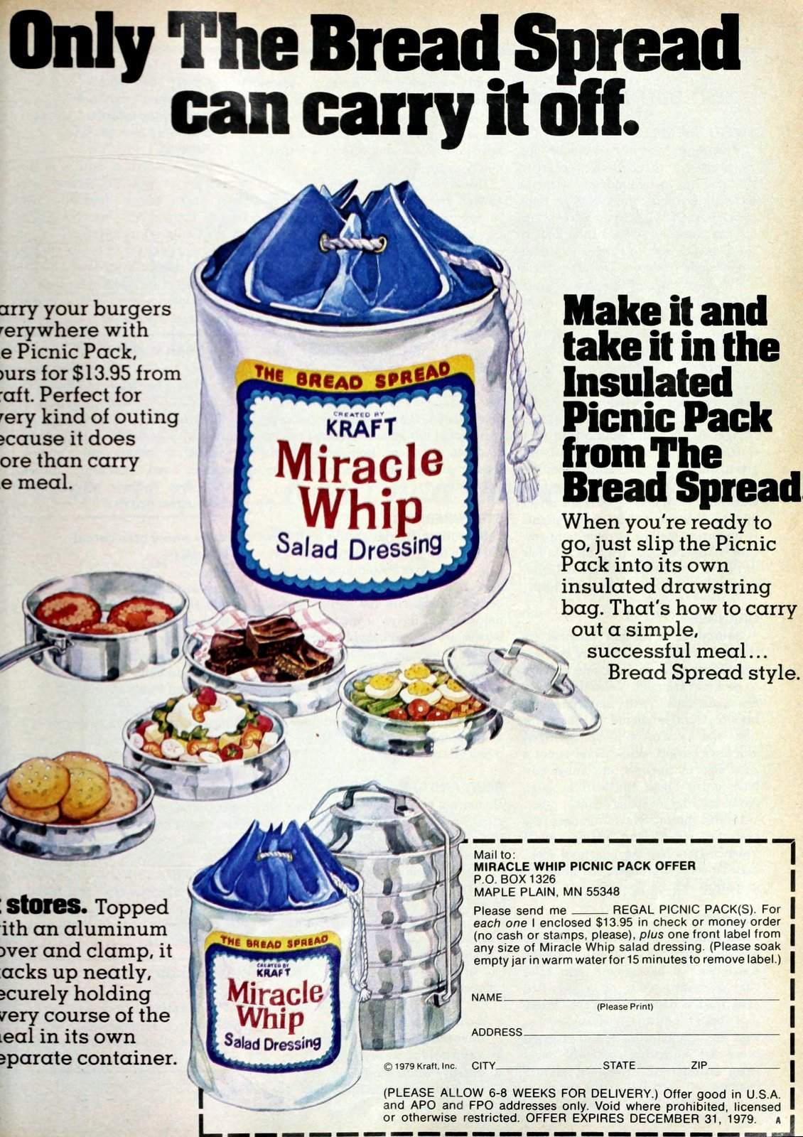 Vintage Kraft Miracle Whip insulated picnic pack drawstring tote (1979)