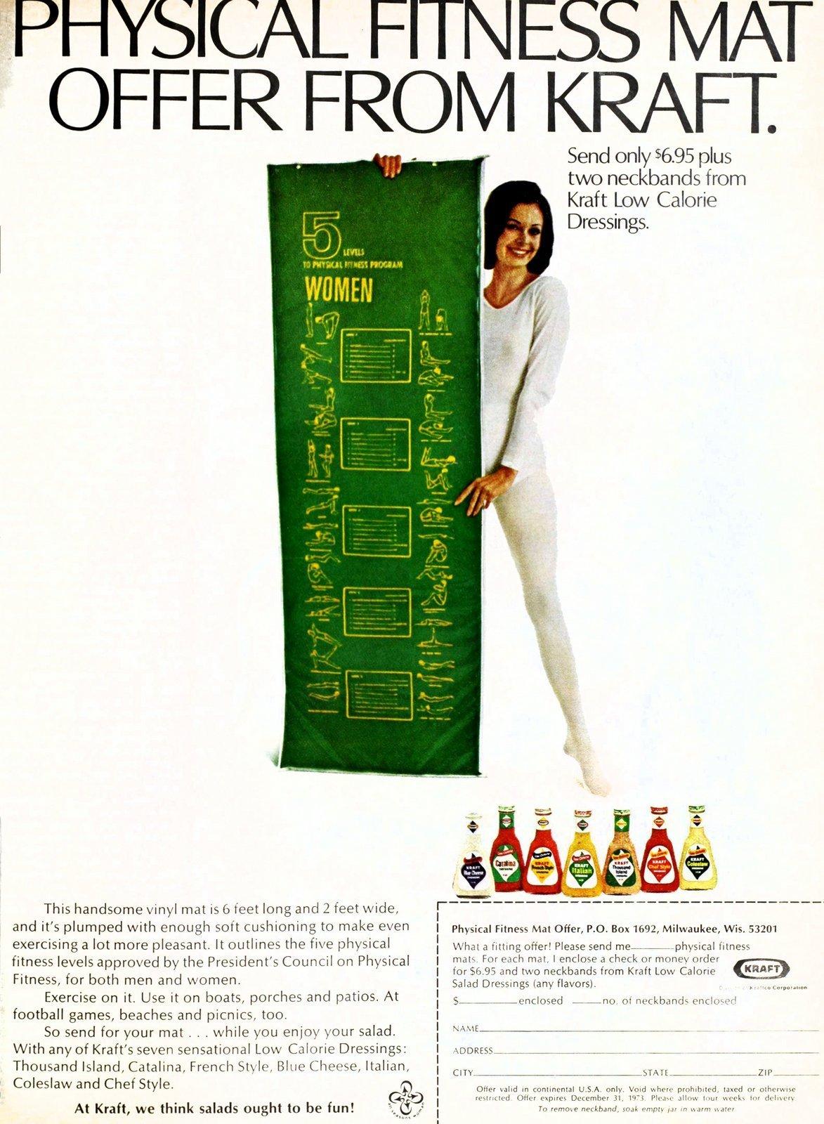 Vintage Kraft physical fitness - yoga mat offer - Salad dressing tie-in (1973)