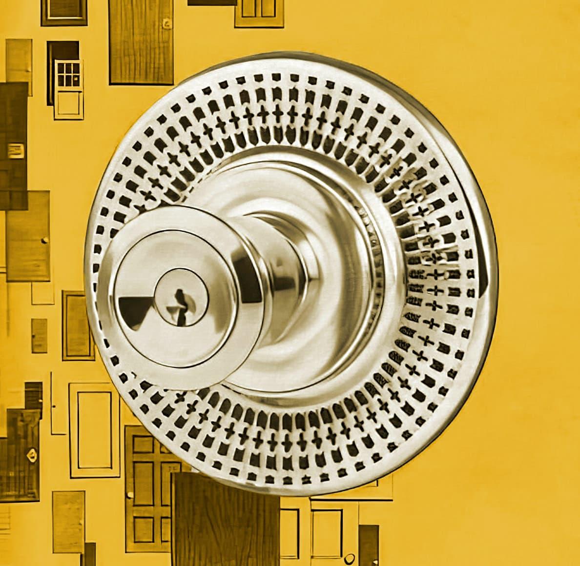 Vintage Kwikset Trim Rosettes mid-century door knob