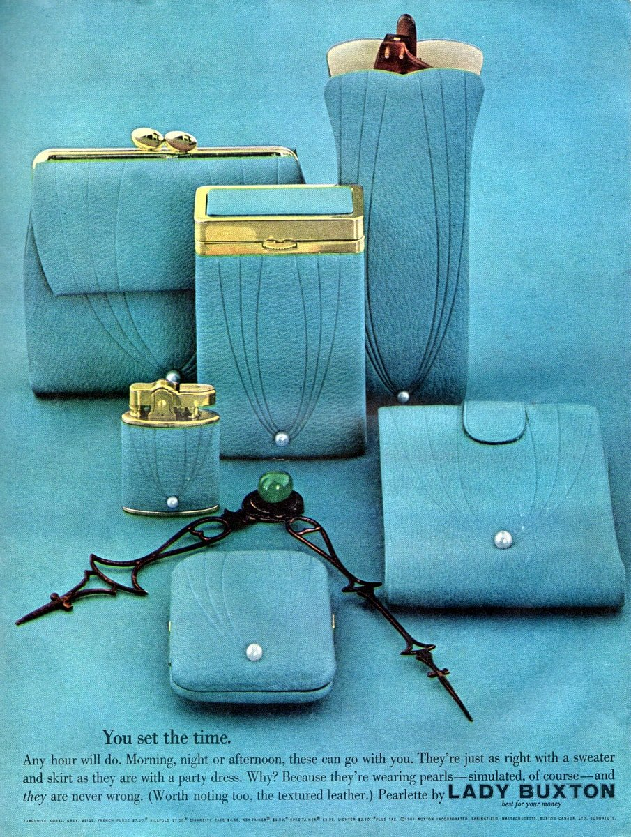 Vintage Lady Buxton Textured leather pearlette wallets (1961)