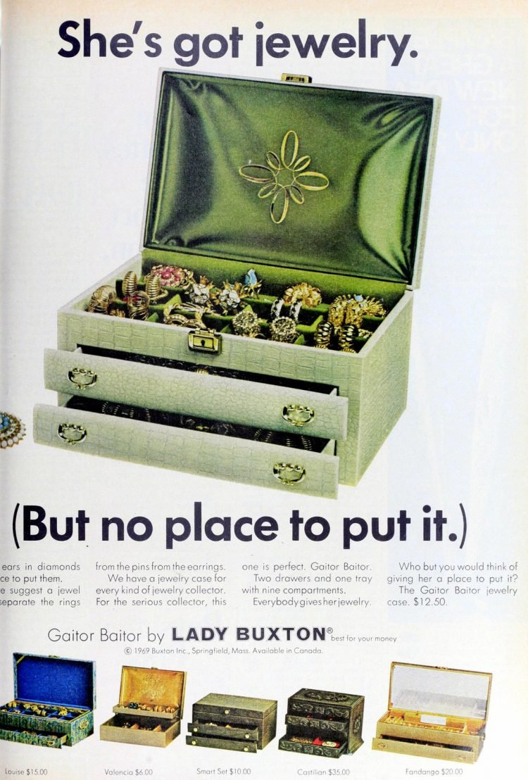Vintage Lady Buxton jewelry box from 1969