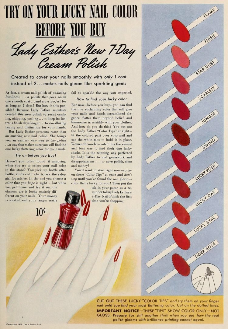 Vintage Lady Esther's 7 day creme nail polish colors 1938