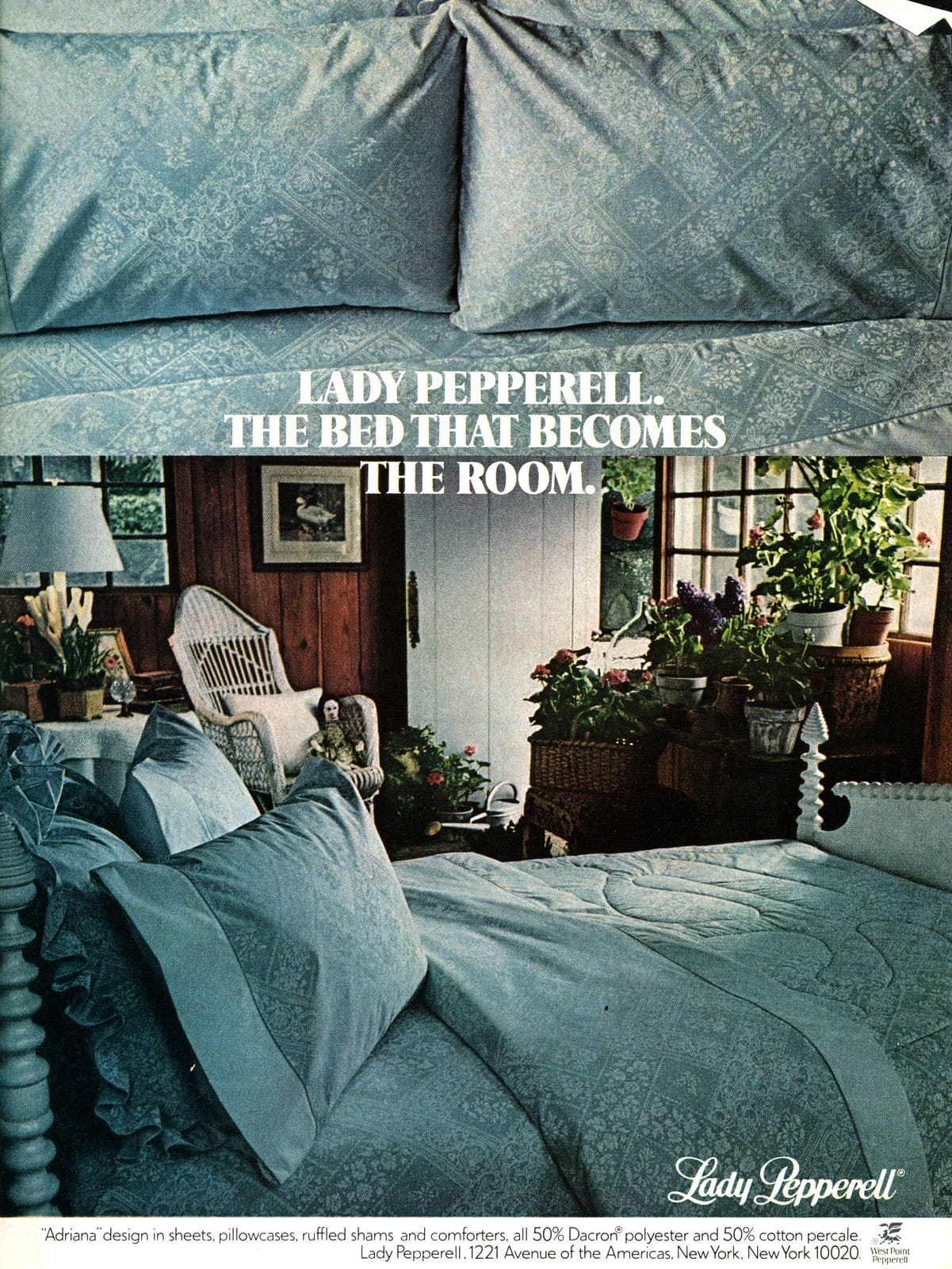 Vintage Lady Pepperell sheets and bedding in Adriana design (1979)