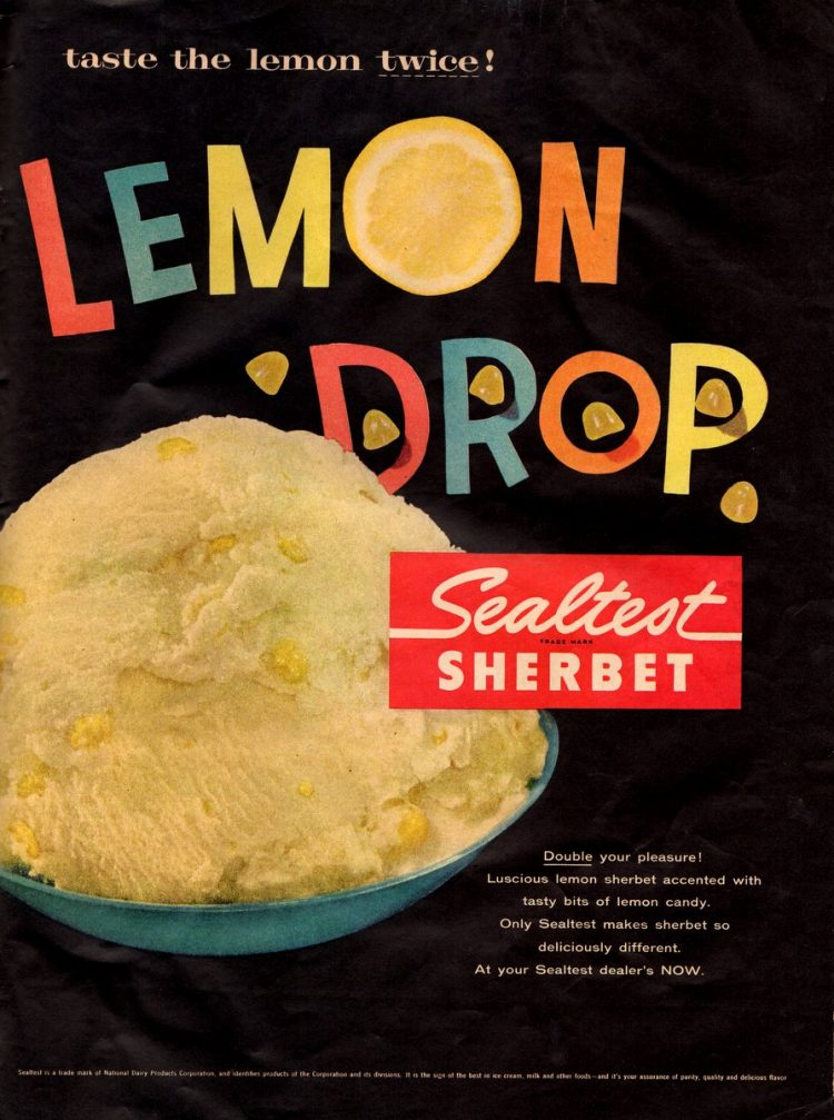 Vintage Lemon drop Sealtest sherbet from 1957