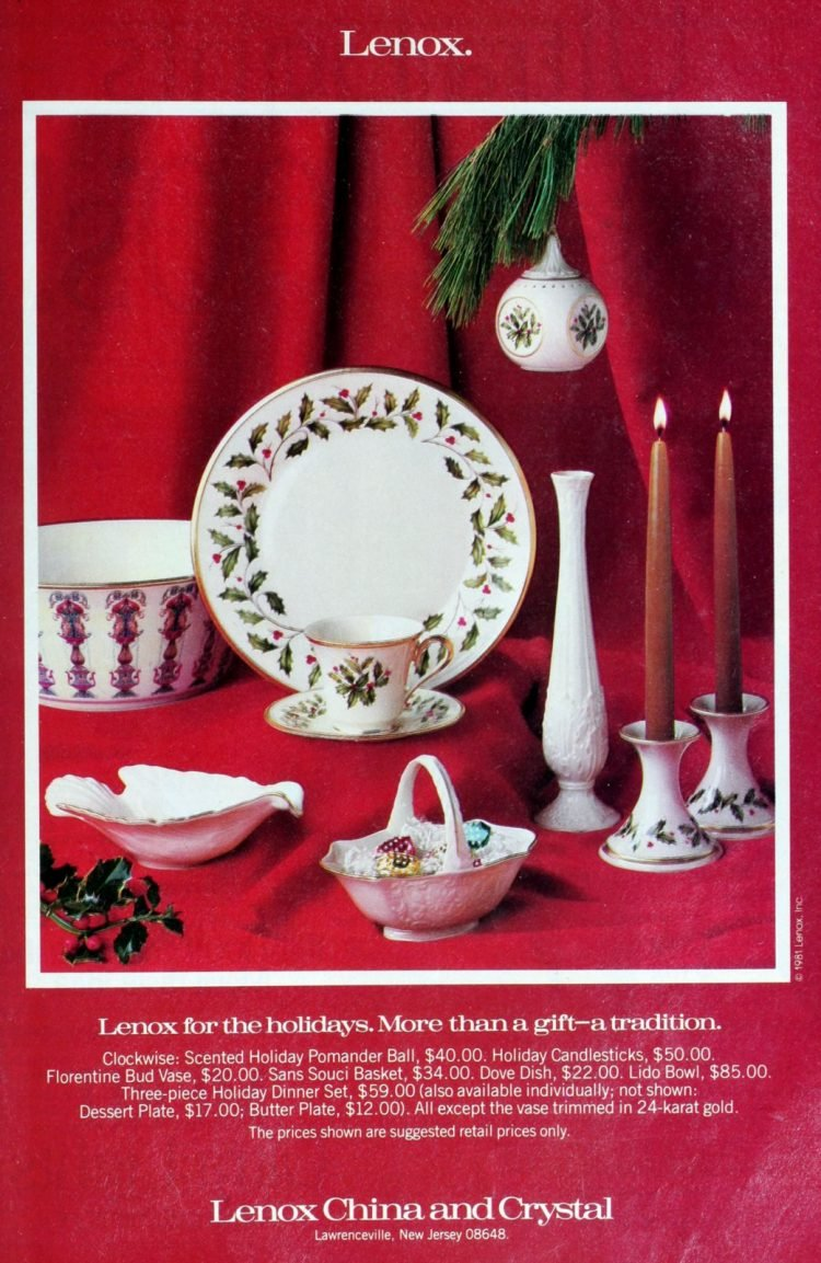 Vintage Lenox Christmas china from 1981