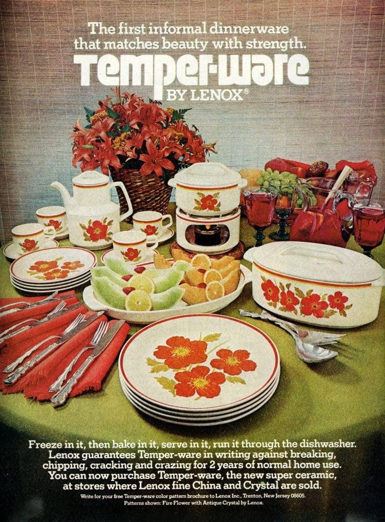 Vintage Lenox Temper-ware Fire Flower Design (1976)