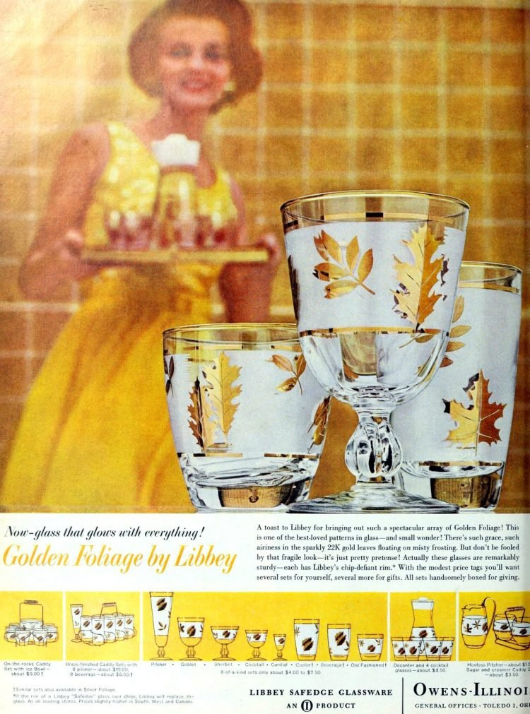 Vintage Libbey Golden foliage glasses from 1961