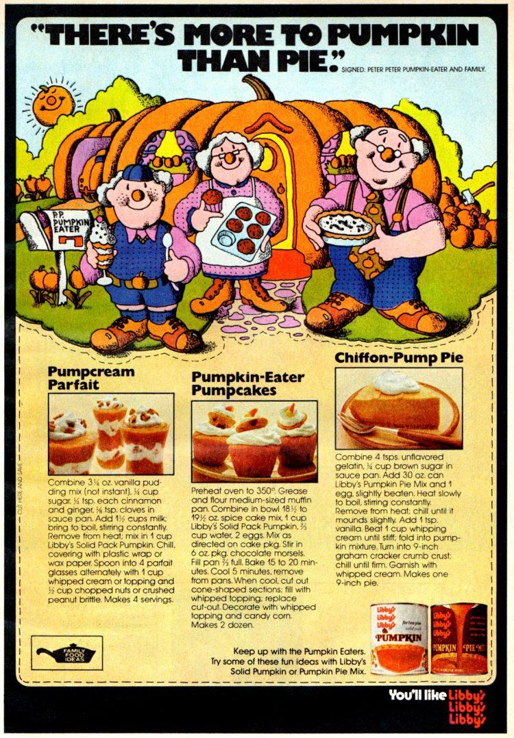 Vintage Libby's pumpkin recipes Pump-Cream Parfait, Pumpcakes & Chiffon-Pump Pie