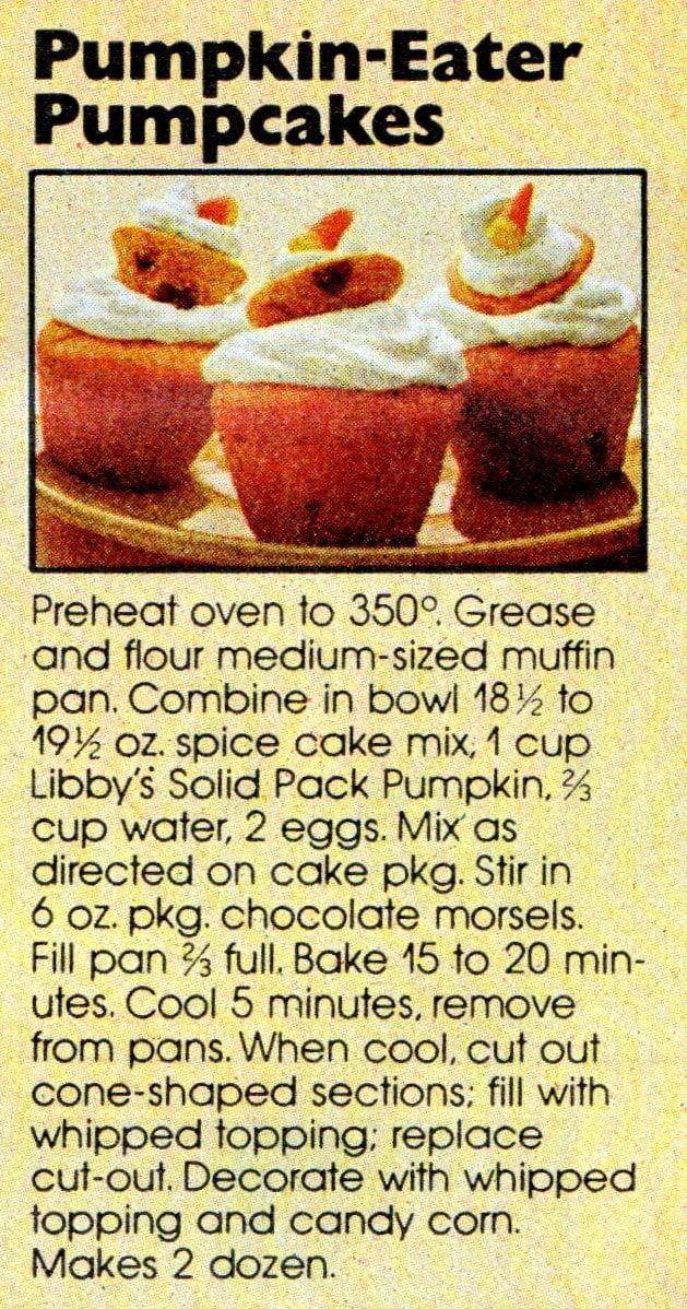 Vintage Libby's pumpkin recipes - Pumpkin-eater Pumpcakes