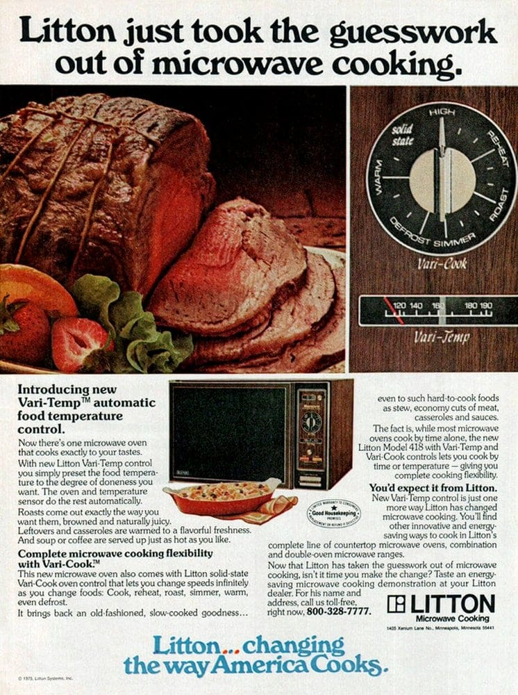 Vintage Litton microwave oven ad from 1975