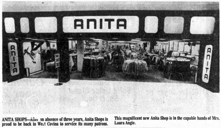 Vintage Los Angeles Anita shop in mall 1975