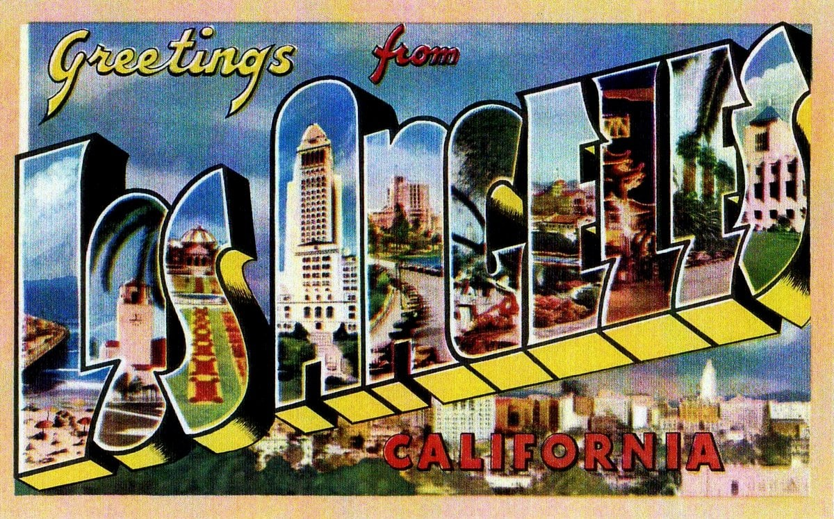 Vintage Los Angeles greeting linen postcard from the 1940s
