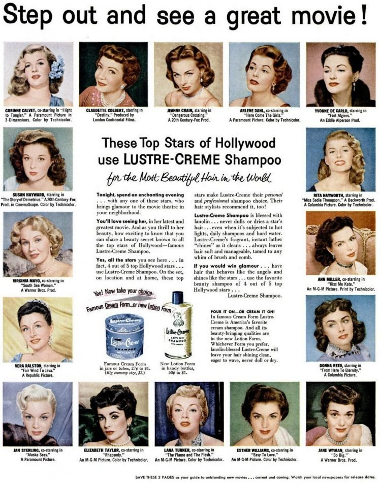 Vintage Lustre Creme Shampoo - Actresses in 1953