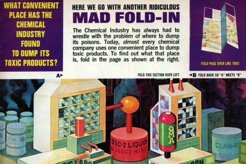 Vintage MAD magazine fold-ins - before and after