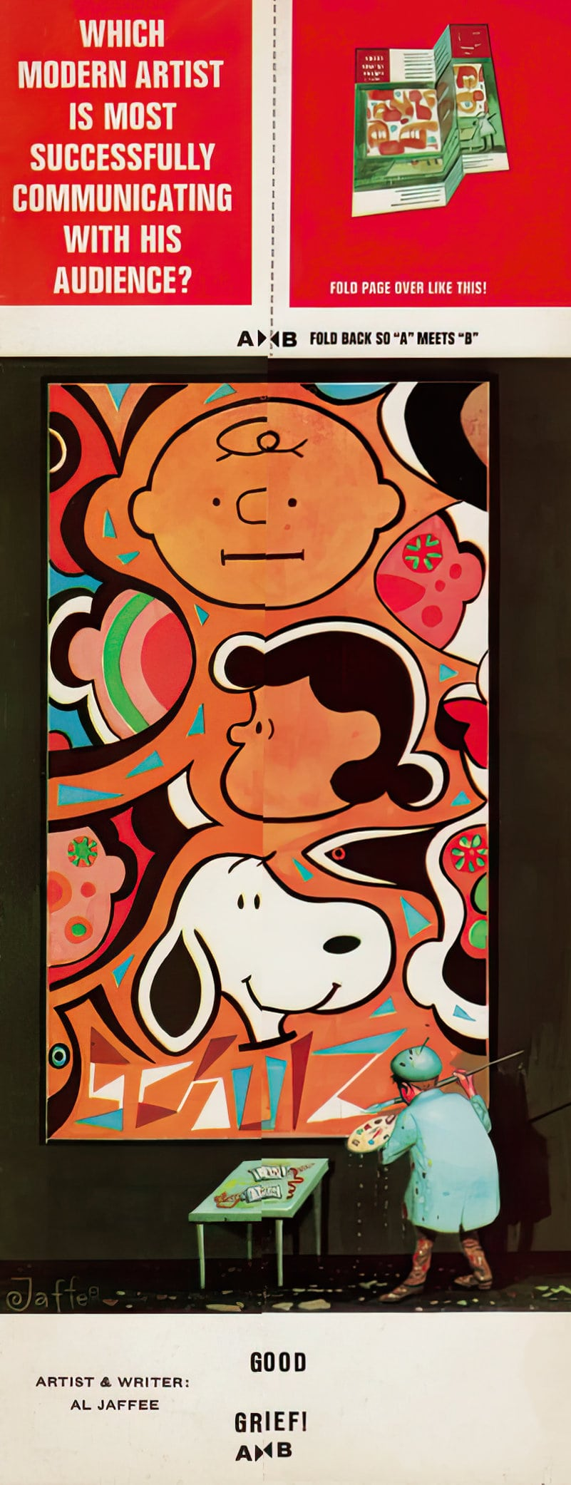Vintage Mad Magazine fold-in - Modern artist - Peanuts characters