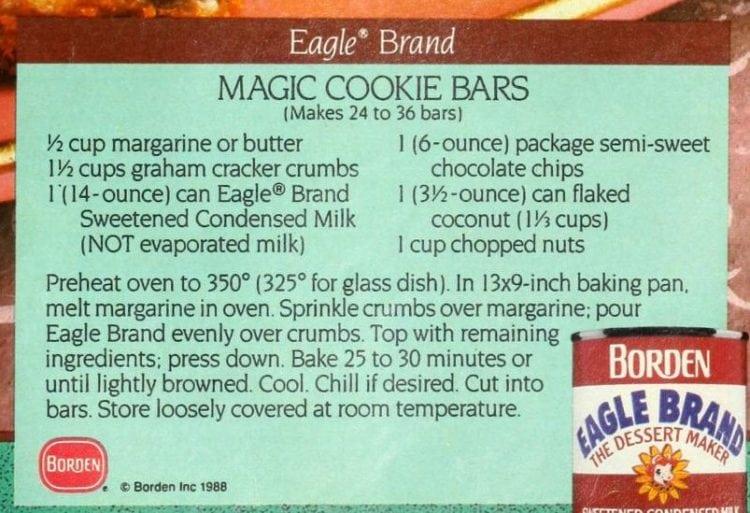 Vintage Magic Cookie Bars recipe card 1988
