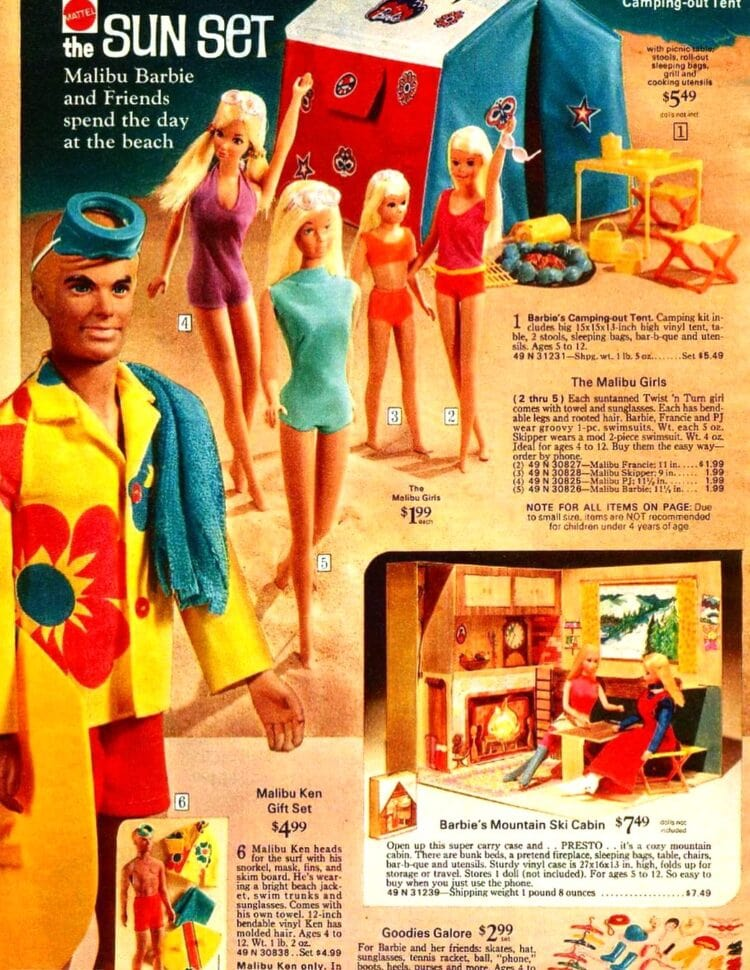 Vintage Malibu Barbie catalog page from the 1970s
