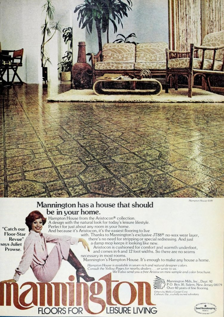 Vintage Mannington Hampton House Aristocon vinyl flooring from the 70s