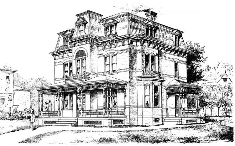 Vintage Mansard house architecture (2)