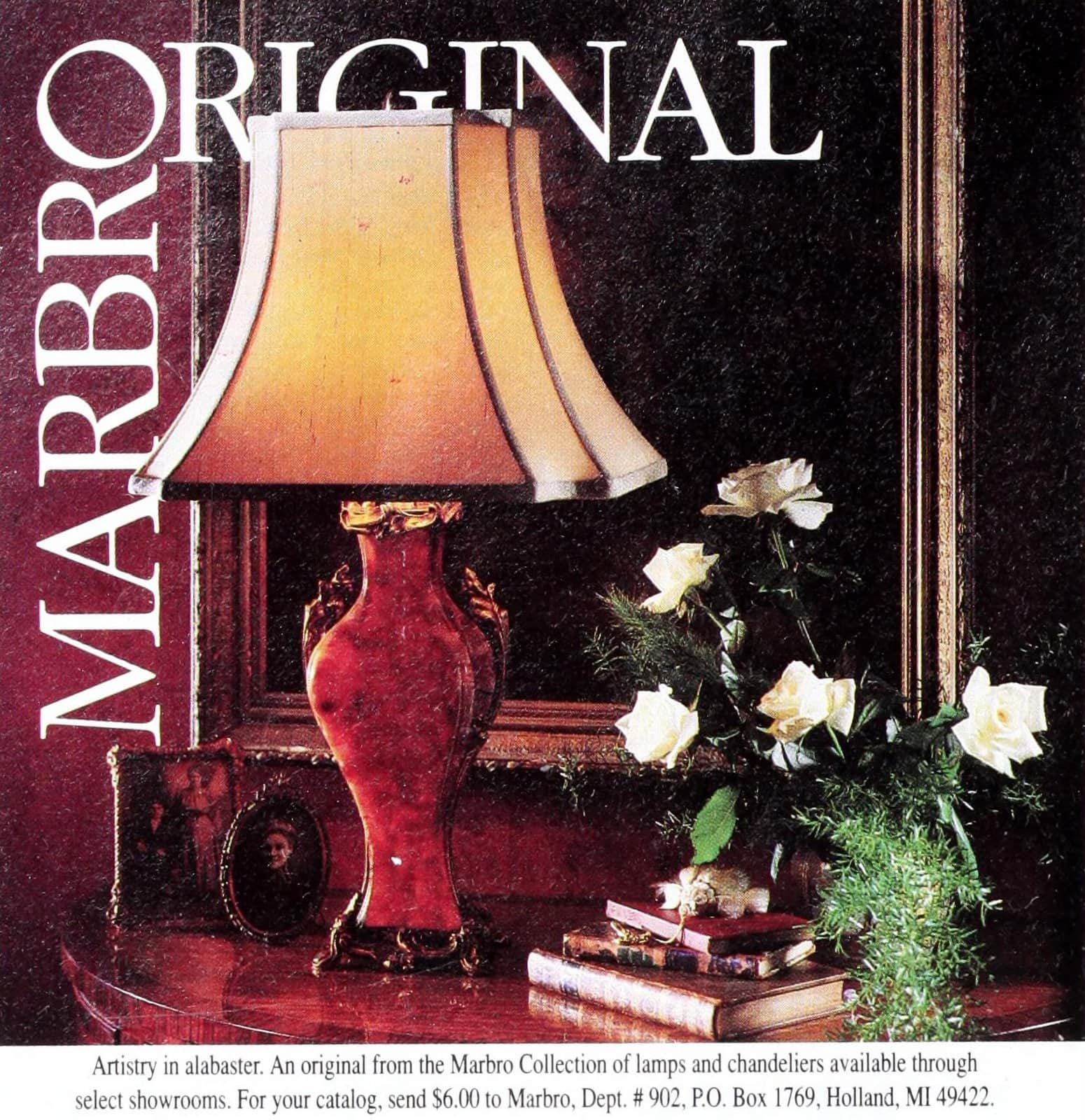 Vintage Marbro Original alabaster table lamp with curved fabric shade (1990)