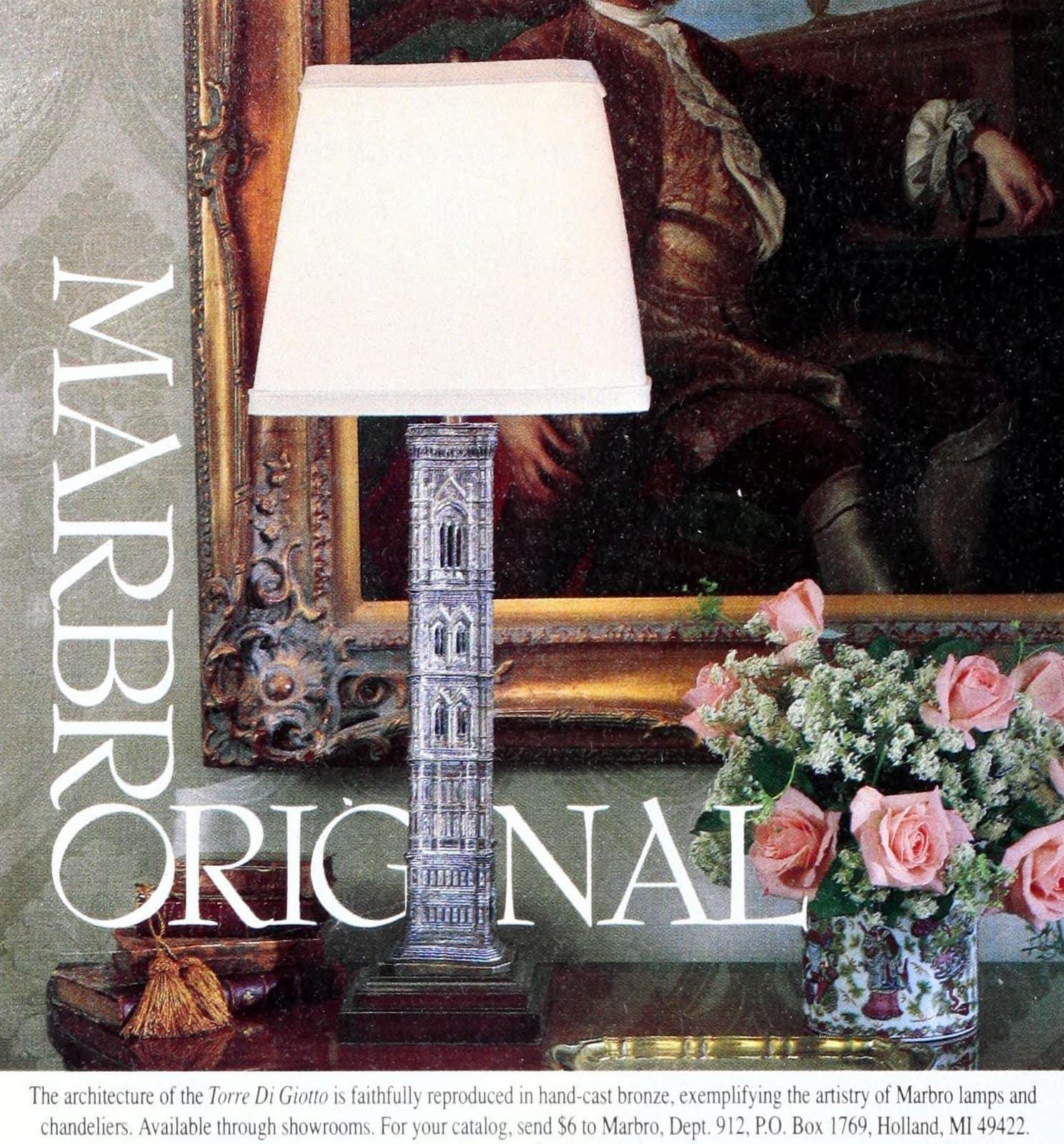 Vintage Marbro Original hand-cast bronze table lamp - Torre di Giotto design (1990)