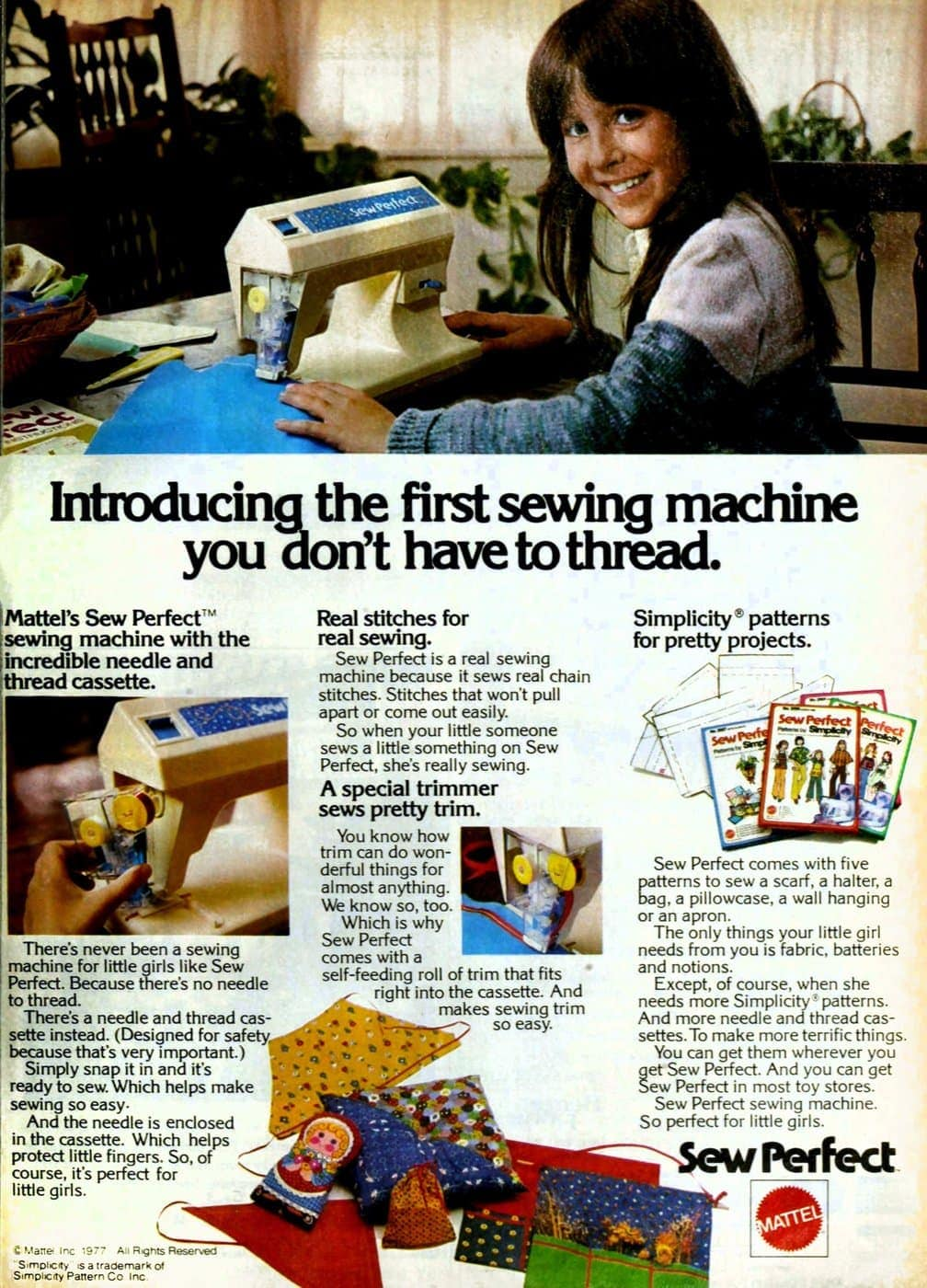 Vintage Mattel Sew Perfect toy sewing machine that worked from 1977