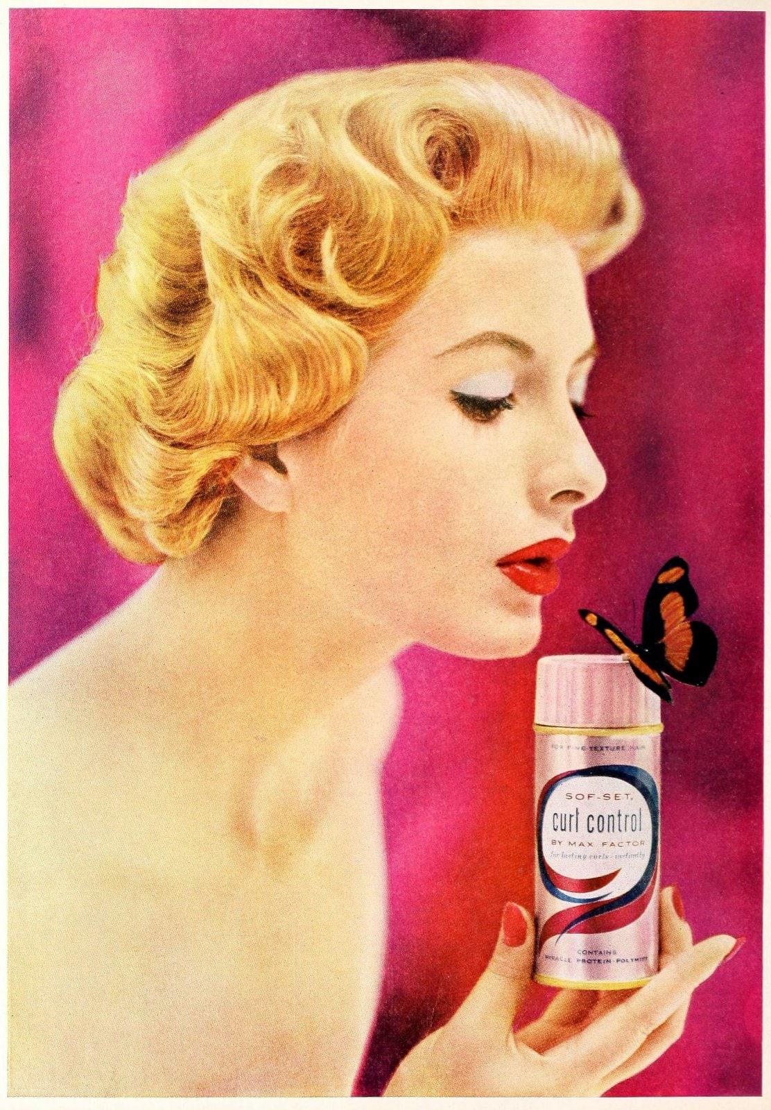 Vintage Max Factor Curl Control hairspray - 1957 (1)