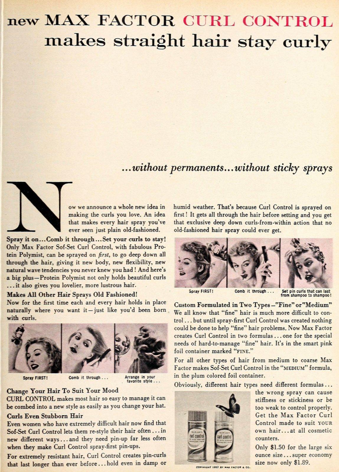 Vintage Max Factor Curl Control hairspray - 1957 (2)