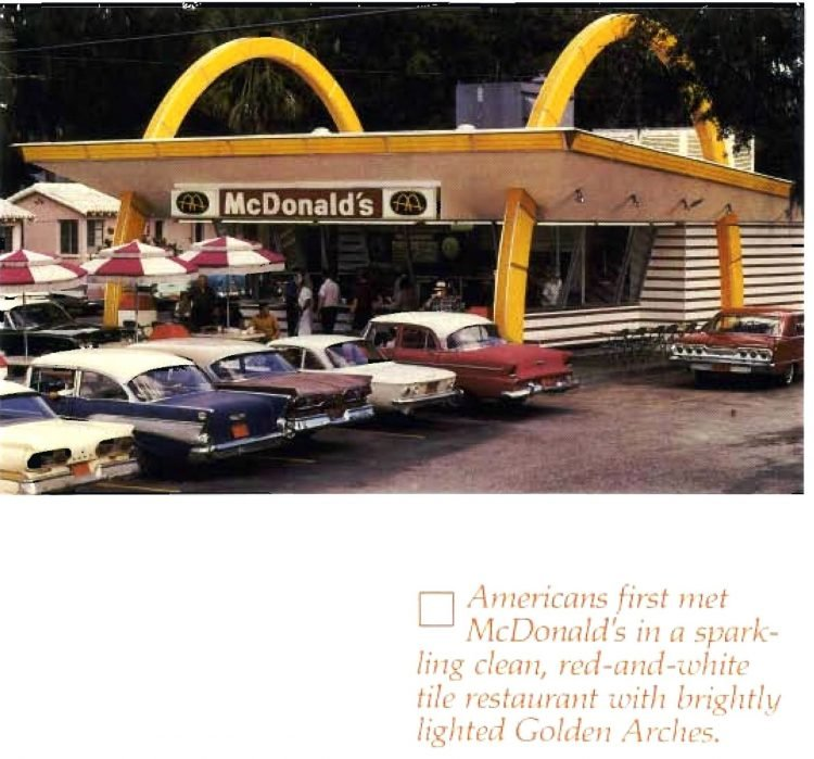 Vintage McDonald's with big golden arches