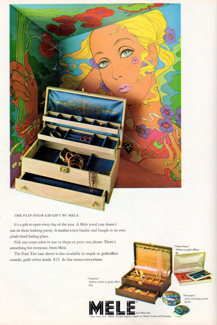 Vintage Mele jewelry boxes for women and girls from 1968