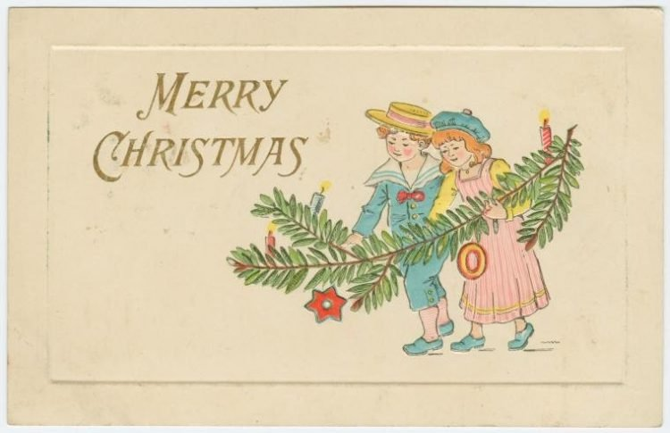 Vintage Merry Christmas card with two kids from 1910