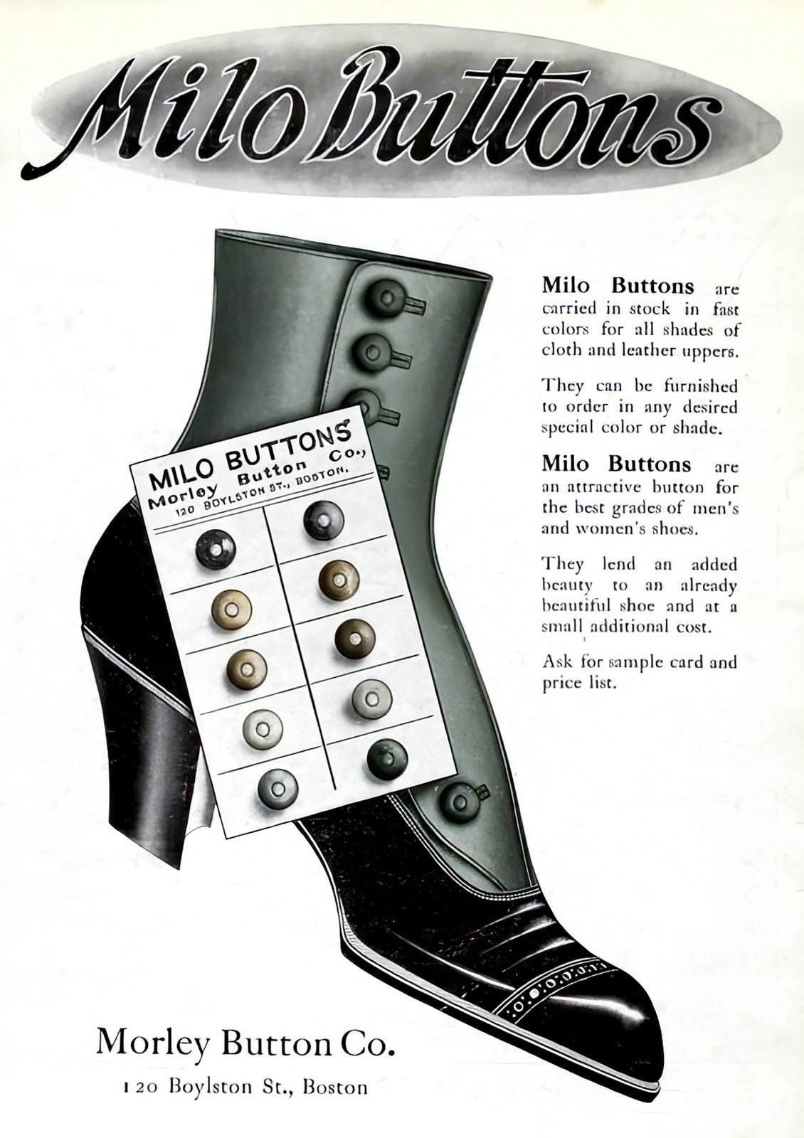 Vintage Milo buttons for shoes - boots (1909)