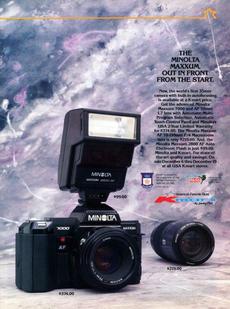 Vintage Minolta Maxxum cameras from 1987