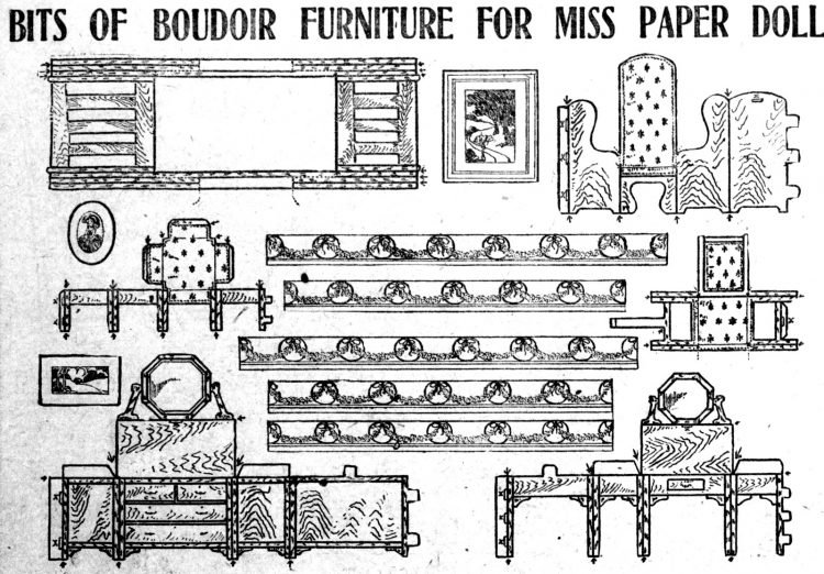 Vintage Miss Paper Doll home decor furniture - 1911 (2)