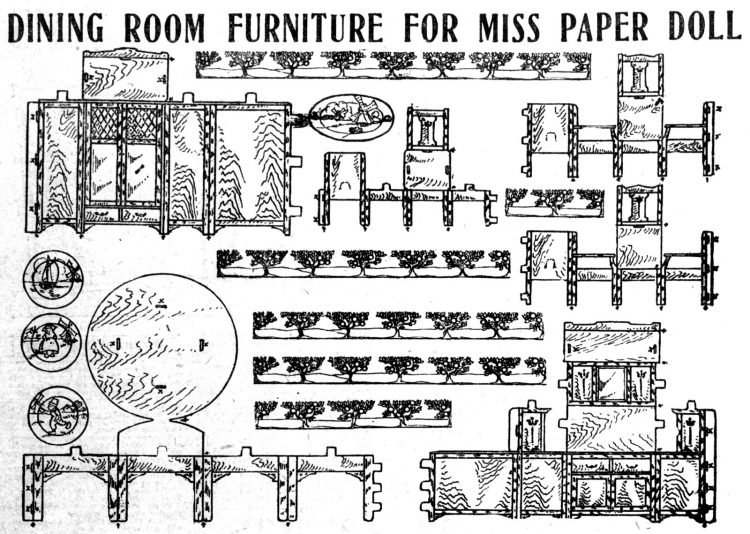 Vintage Miss Paper Doll home decor furniture - 1911 (3)