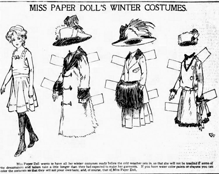 Vintage Miss Paper Doll outfits from 1911 (13)
