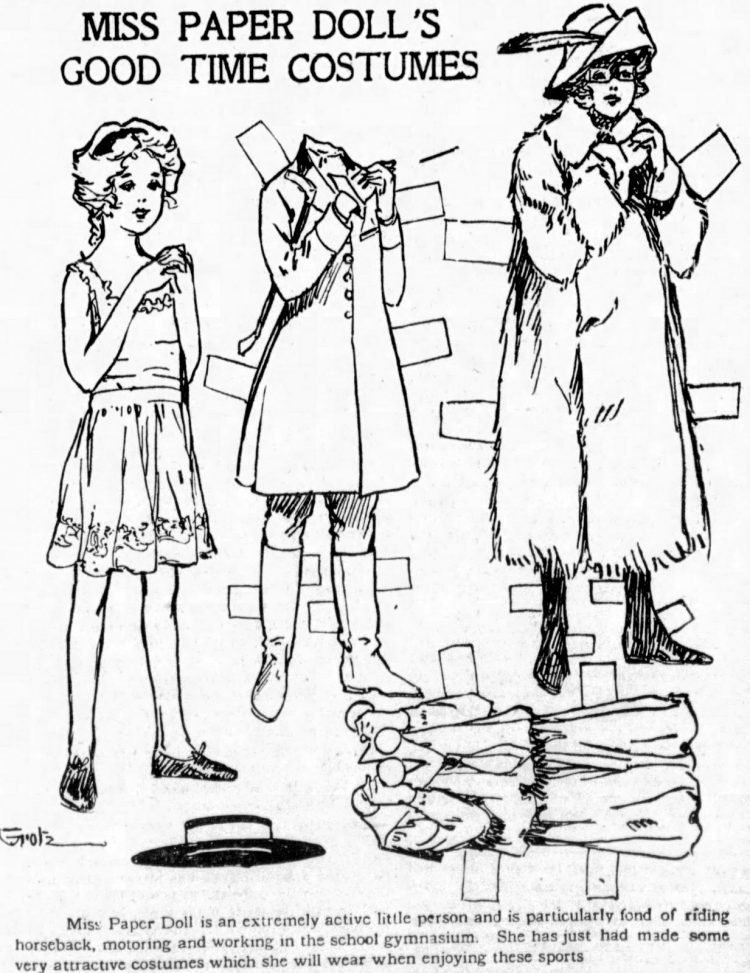 Vintage Miss Paper Doll outfits from 1911 (14)