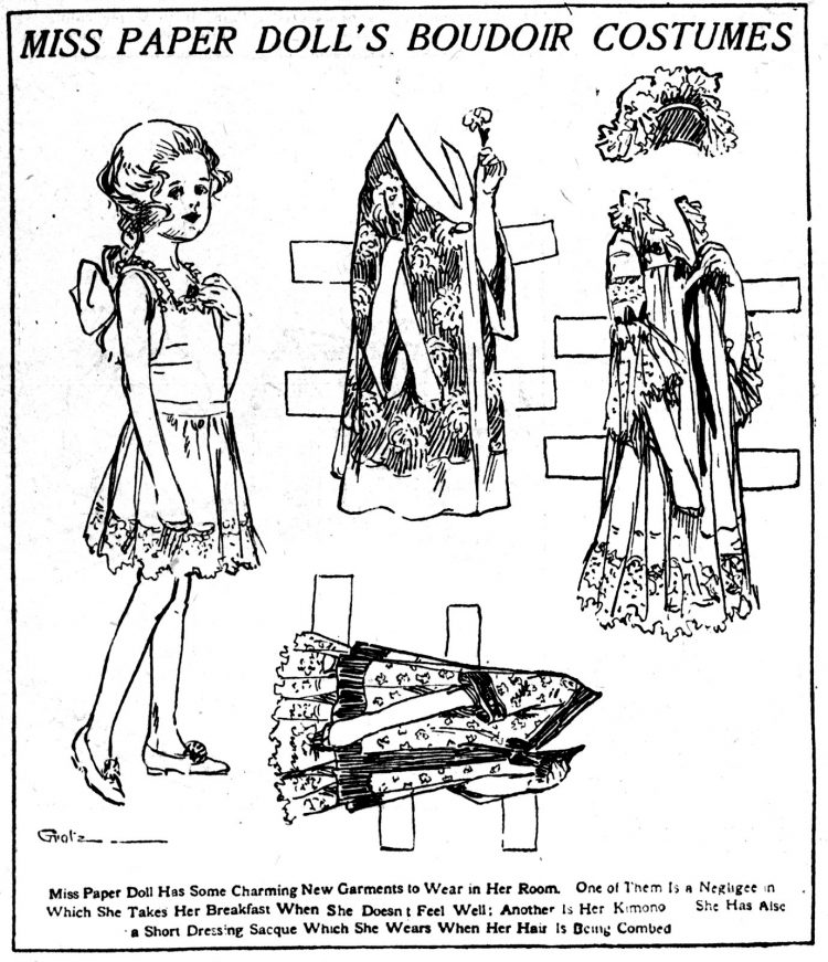 Vintage Miss Paper Doll outfits from 1911 (15)