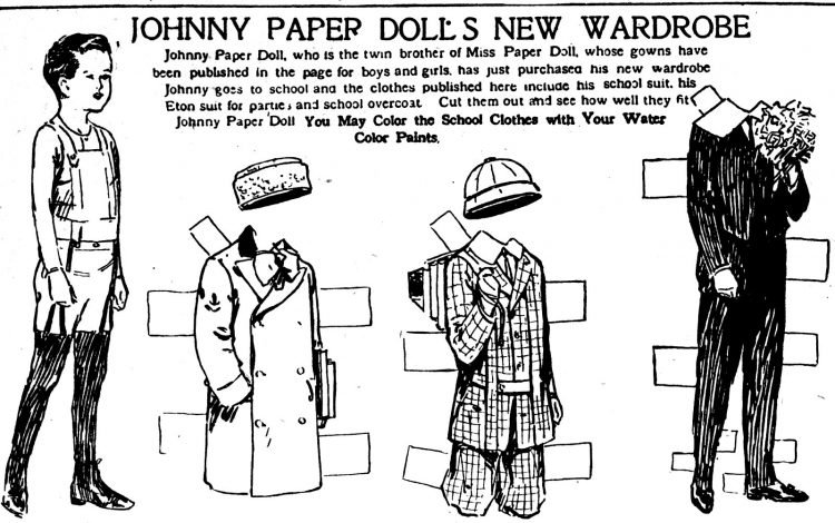 Vintage Miss Paper Doll outfits from 1911 (16)