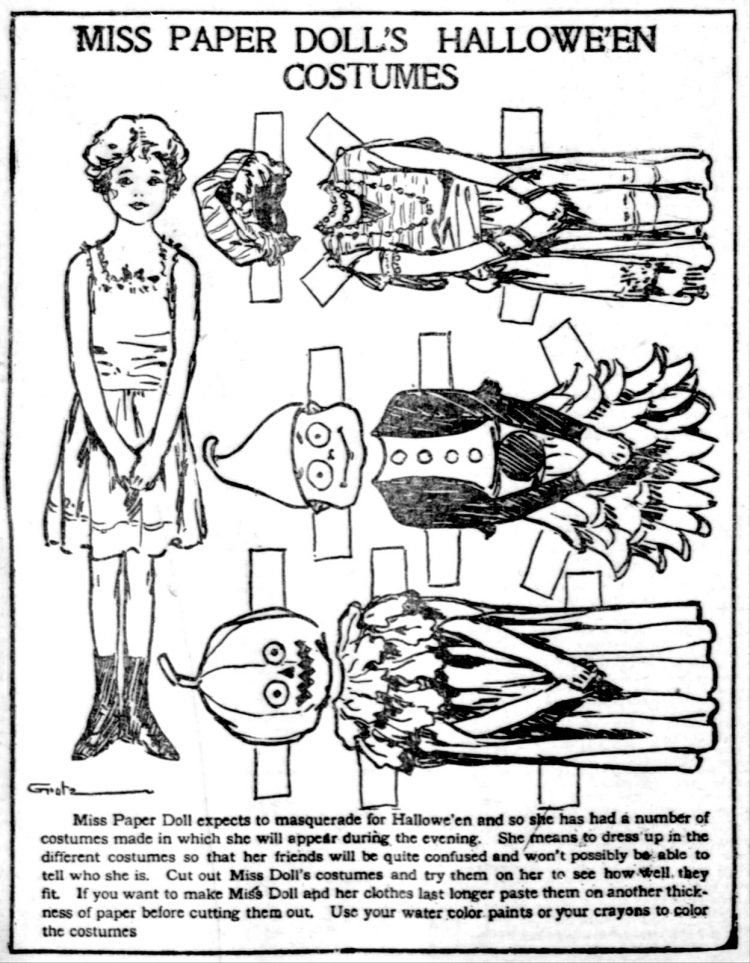 Vintage Miss Paper Doll outfits from 1911 (17)