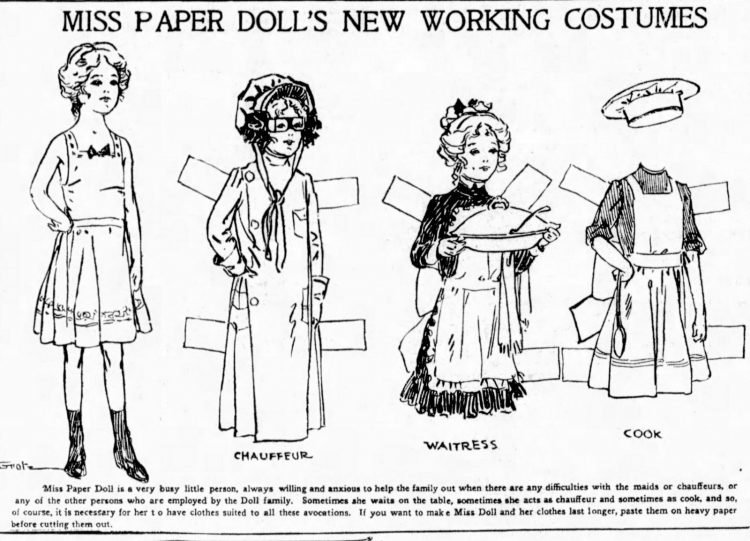 Vintage Miss Paper Doll outfits from 1911 (4)