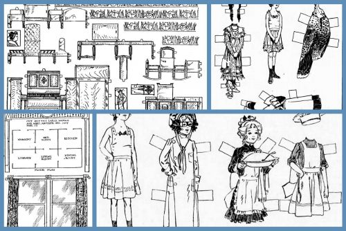 Vintage Miss Paper Doll set Dolls, outfits and furniture (1911)