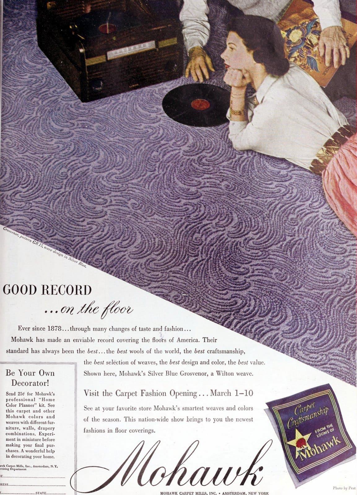 Vintage Mohawk textured carpet in purple (1949)