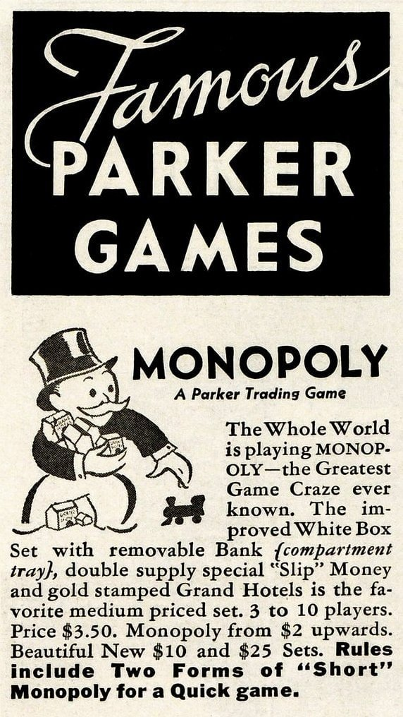 Vintage Monopoly board game from 1936 - Parker Brothers