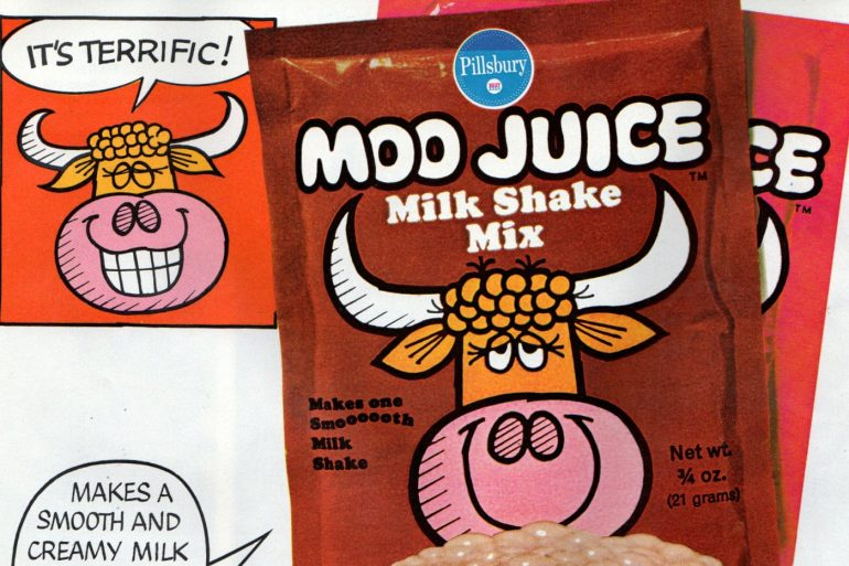 Vintage Moo Juice packets from the 1960s