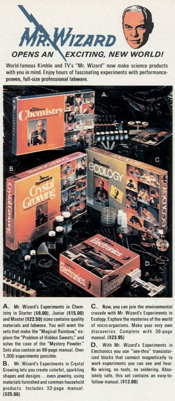 Vintage Mr Wizard science kits from 1972