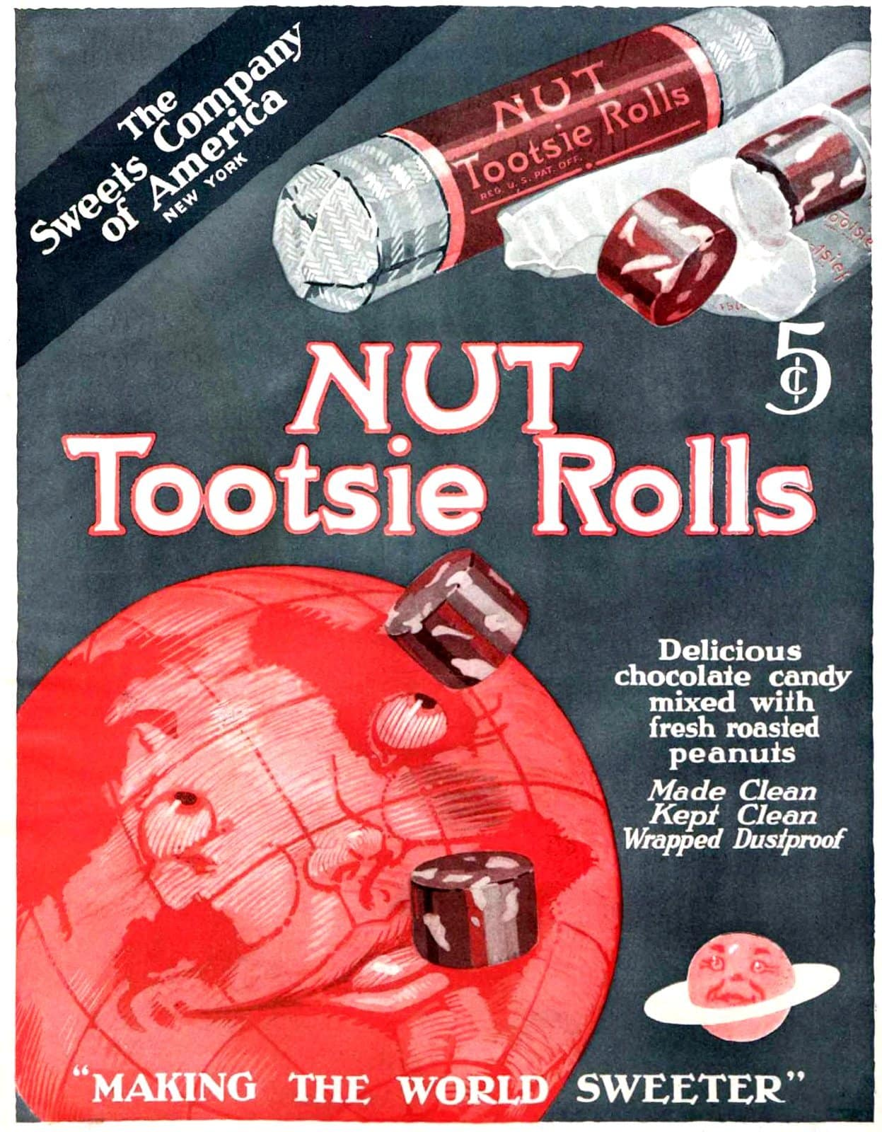 Vintage NUT Tootsie Roll candies from 1919